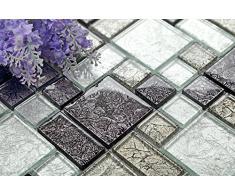 Vetro mosaico piastrelle tappetino nero e argento con pietre in tre diverse misure (MT0044 DE)