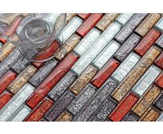 Vetro mosaico piastrelle 30 cm x 30 cm tappetino piccole pietre in autunno seguenze colori rosso, oro, argento, nero con struttura in mattone-design far Eastern (MT0094)