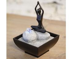 Zen' Light yoga1 Fontana poliresina nero 12 x 12 x 17 cm