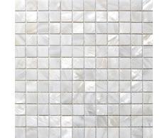 Piastrelle a mosaico in madreperla, effetto letto di fiume Nature perla, motivo: quadrati di mosaico, 25 mm, colore: bianco