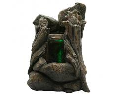 Zen chiaro SCFR136 Legno marrone naturale, fontana del giardino, in pietra / legno, 25 x 18 x 36 cm