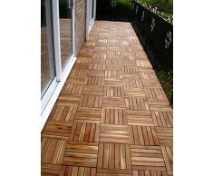 6x in legno massiccio di Acacia Tiles. a incastro in legno per giardino, Patio, terrazza, Hot Tub. piano quadrato, 30 cm, motivo: Piastrelle