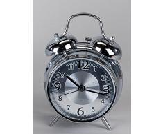 Nostalgico sveglia orologio da tavolo PENDOLA decorazione osservare nero quadrante argentato con decorazione, 30 cm