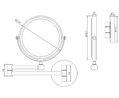 VELMA - AE802 5x - 2 in 1 - Specchio cosmetico / Specchio ingranditore / Specchio da trucco / Specchi per radersi - 2 lati - Ingrandimento x5 + Grandezza normale - Completamente orientabile - Ottone cromato lucidato - Non in plastica