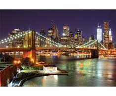 Brooklyn Bridge / Ponte di Brooklyn FOTOMURALE- skyline di New York City con il ponte di Brooklyn fosforescente di notte - XXL tappezzeria da parete/decorazione da parete