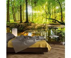 murimage Carta Parati Foresta 366 x 254 cm Legno Alberi Luce Solare fotomurali Poster Gigante Camera Bambini Soggiorno Include Colla