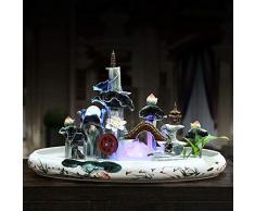 GL-Indoor fountain Acqua umidificatore Fontana Ceramica dispone di Ornamenti per acquari Interni | con Luce a LED | 66 * 35 * 42 Centimetri