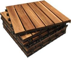 24 piastrelle extra spesse in legno di acacia a incastro. Patio, giardino, balcone, vasca idromassaggio. Piastrelle quadrate da 30 cm.