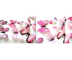 12 Pezzi 3D Adesivo Murales Carta da Parete Farfalle, Wall Stickers a Specchio, Decorazione da Muro per Casa Hotel Salotto Camera da Letto Camerette da Bambini -Culater (Rosa)
