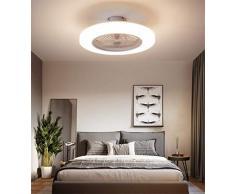YZSJ Moderno Plafoniera LED Ventilatore A Soffitto con Luce E Telecomando Silenzioso Ventilatori Dimmerabile Plafoniere Lampadario Camera da Letto Soggiorno Illuminazione Invisibile Fan,Bianca