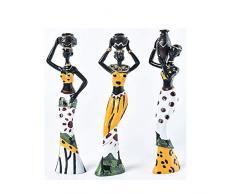 gshhd88 3pz. Africana Figura Scultura Tribale Lady Figurina Statua Soprammobile da Collezione Arte Oggetto, Resina Creazioni Regalo Scrivania Ornamento Casa Ufficio Decorativa - Giallo, Free Size