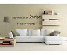 """wall stickers Adesivo murale """"Un giorno senza sorriso è ...... """" frasi, desideri, love - (155cm x 54cm) - adesivi murali decorazioni interni by tshirteria"""