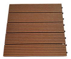 Piastrelle EVERFLOOR WPC da giardino (misto plastica/legno) profilo massiccio, marrone chiaro, 6 pezzi, 40 x 40 cm (ca. 0,96m2)
