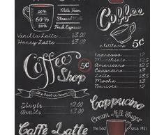 Carta da Parati Vintage Retro Coffee Shop Caffè Stile Lavagna 234602