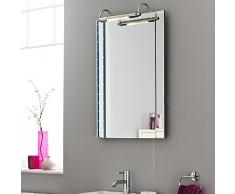 Hudson Reed LQ392 - Specchio Tradizionale con Pensile - 720 x 550 mm - Specchiera a Luce - Specchiare Per Stanza Bagno - Garanzia 2 Anni - Lampadina 20 W