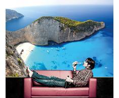 Zakynthos Beach FOTOMURALE - isola del paradiso greca - Base jump XXL poster - Zakynthos Navagio Beach - spiaggia isola ionica carta da parati by Great Art