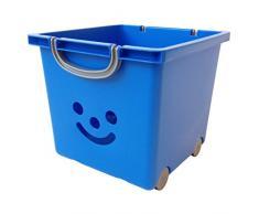 Iris 102216.0 - Cesta portaoggetti per bambini, con rotelle e maniglie, 25 litri, motivo: smiley, colore: blu/grigio