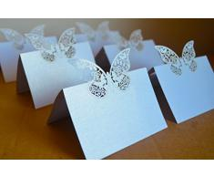 20x Farfalle Cartellini segnaposto BIANCO PERLATO glitter bomboniera matrimonio inviti