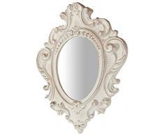 Biscottini Specchio Specchiera da parete stile Shabby in legno con finitura bianca Anticata misure L32xPR3,5xH38 cm produzione Artigianato Fiorentino Made in Italy