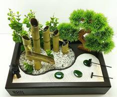 Bonseki® Fontana zen da interno 40 x 25cm nero con giardino zen da tavolo, bonsai e led. Personalizzabile.