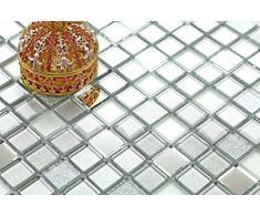 Fantasia 10 x 10 cm. Vetro mosaico piastrelle motivo argento opaco, specchio e glitter motivo MT0046