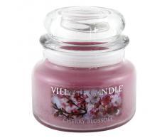 Village Candle Cherry Blossom Vaso di Vetro Piccolo, Rosa, 10.3x10.1x10.1 cm