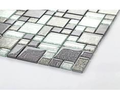 1qm vetro mosaico piastrelle tappetino nero e argento con pietre in tre diverse misure (MT0044 m2 DE)