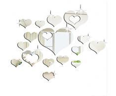 Specchi Adesivi Decorativi,Adesivi Specchio Adesivi Da Parete Home 3D Removibile Cuore Arte Decor Muro Adesivi Soggiorno Decorazione Morwind (Argento)