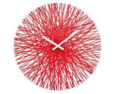 Koziol - Orologio da parete, rosso trasparente, 3.5 x 44.8 x 44.8 cm