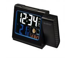 La Crosse Technology WT551-BLA - Radiosveglia, con proiezione color rosso, display LCD a colori, temperatura interna ed esterna, nero