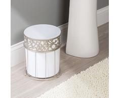 mDesign pattumiera in plastica – elegantissimo cestino spazzatura per il bagno, l'ufficio e la cameretta – bidone ideale per carta con elementi in metallo - colore bianco