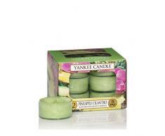 Yankee Candle Tea Light Candele Profumate Pineapple Cilantro 12 Pezzi, Cera, Verde, 8.8 x 8.5 x 6.3 cm
