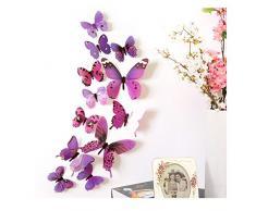 12 Pezzi 3D Adesivo Murales Carta da Parete Farfalle, Wall Stickers a Specchio, Decorazione da Muro per Casa Hotel Salotto Camera da Letto Camerette da Bambini -Culater (Viola)