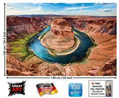 GREAT ART Horseshoe Bend FOTOMURALE - Grand Canyon - Colorado River Page Arizona King Bend Quadro -Decorazione da Parete/tappezzeria da Parete by (140 x 100 cm)