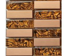 10 cm x 10 cm modello. Acciaio inox e vetro mosaico piastrelle modello in oro (MT0104 modello)
