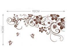 ufengke® Bella Vite Fiori e Farfalle Adesivi Murali, Camera da Letto Soggiorno Adesivi da Parete Removibili/Stickers Murali/Decorazione Murale