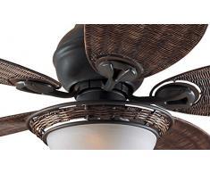 Hunter Fan Caribbean Breeze Ventilatore da soffitto con Luce 240 W, Bronzo Invecchiato, 137 cm