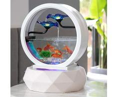 LOERO 3-Tier Desktop Fontana Elettrica-17,7 * 13.8 inch Indoor Portatile Acqua Tavolo Decor Semicerchio Pesce Serbatoio con LED Colorati