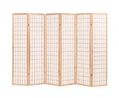 GOTOTOP Paravento pieghevole a 6 pannelli, separatore di spazi, 240 x 170 cm, stile giapponese, divisorio per camera da letto, soggiorno