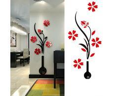1 vaso di Acrilico 3D PC e Plum Flower Pattern Camera TV Sfondo Ingresso Home Office Wall Decor Sticker sfondi Vaso Stile Casuale