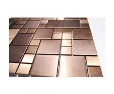 Il mosaico in vetro mosaico piastrelle da parete in acciaio inox base in acciaio inox-mosaico - rame-look - 1 opaca