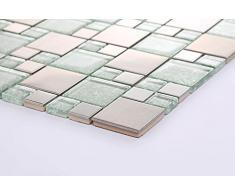 1qm in acciaio inossidabile e vetro mosaico piastrelle opaca argento con pietre in due misure spazzolato e Asia tavoli struttura (MT0048 m2 de)