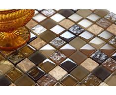 Vetro e pietra naturale mosaico piastrelle opaca in marrone e Beige lucido e opaco MT0050