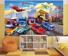 GREAT ART Poster per la Stanza dei Bambini Corsa automobilistica Murale Decorazione Aereo Cars Avventura Macchina Sportiva Auto Cabrio Comic - Fotomurales Decorazione da Parete by (140 x 100 cm)