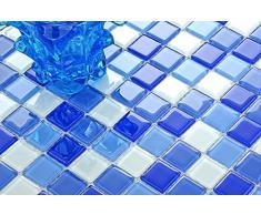 Piastrelle in Vvetro, mosaico, mattonelle stuoiasopra in blu e bianco., rivestimento per Costume per pareti., tappetino da Opaca è 30 cm x 30 cm (MT0081)