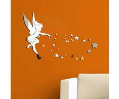 Walplus Fatina Stelle Specchio Poster Adesivo Murale, Colore Argento