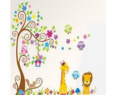 Rainbow Fox Sticker da muro e lettere in legno Albero Fiore Colorato Simpatici Gufi Leone Cervo Adesivi Murali, Camera dei Bambini Vivai Adesivi da Parete Removibili/Stickers Murali/Decorazione Murale