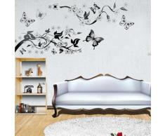 WALL STICKER CARTA PARATI ADESIVO DECAL FARFALLE FIORI