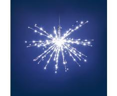 TWIGball argento, diam. 60 cm, 200 led bianchi, effetto flashing, decorazioni natalizie, oggetti luminosi, luci di Natale