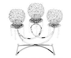 Sharplace 3 Braccia Candelabri Portacandele In Cristallo Decorazione Soprammobili Cerimonia Nuziale - Argento